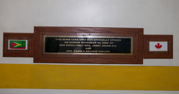 Plaque signifying the birth of the Burn Care Unit
